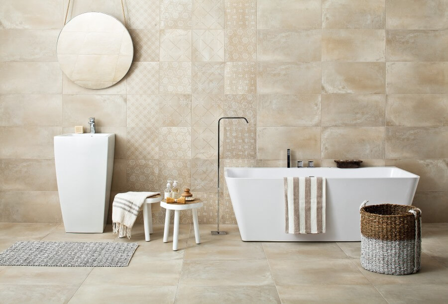Sandy beige and the unique look of each tile are a harsh yet at the same time extremely elegant base for the decor of a modern, large bathroom. Tigua tiles ...