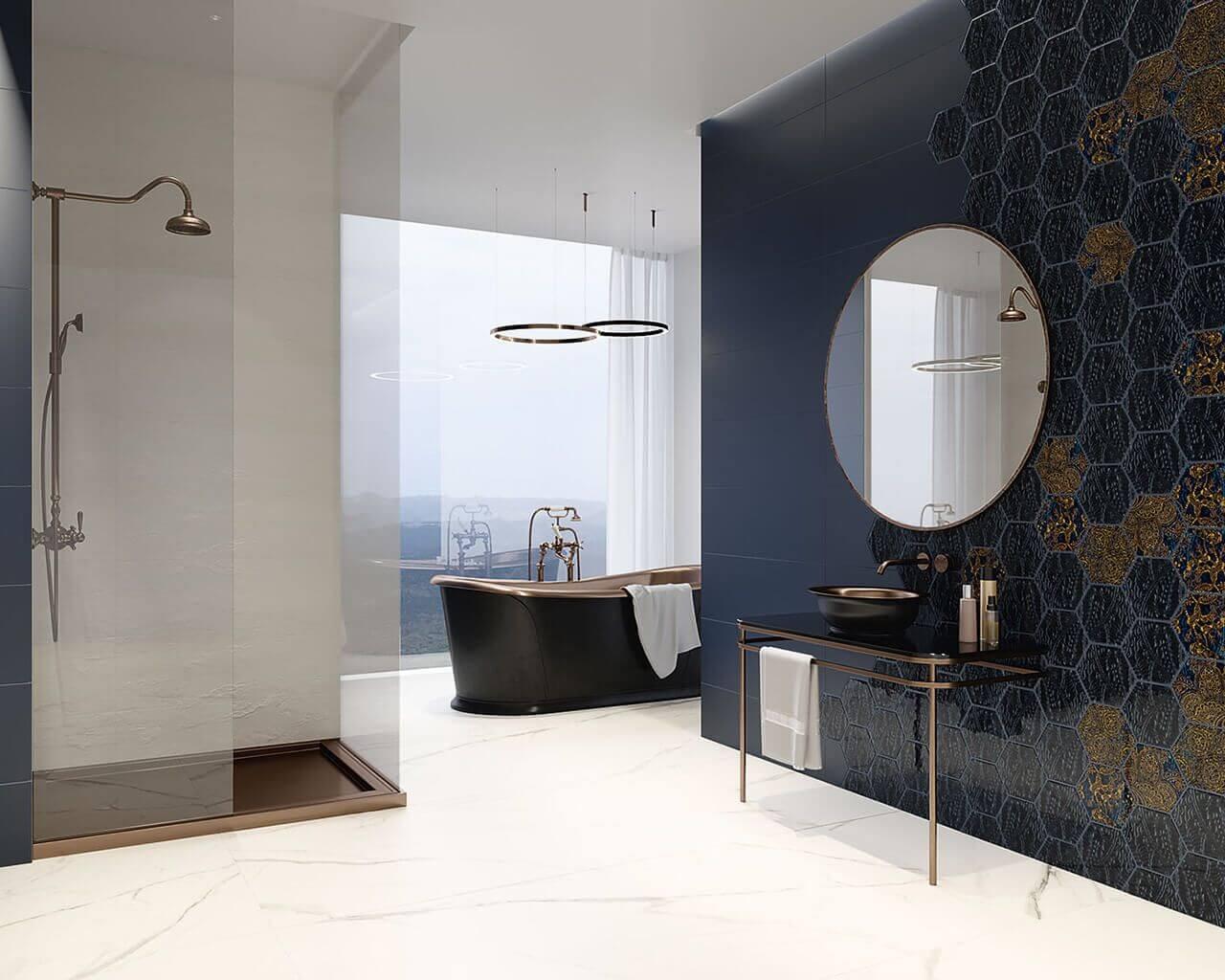 Urban-Colours-Bianco-Struktura-A-298x898_blue-298x898_blue-inserto-szklane-heksagon-198x171_blue-inserto-szklane-heksagon-A,B,C-_-Calacatta-mat-898x1798