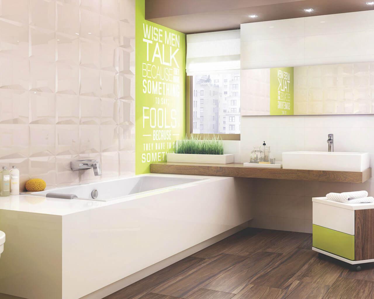 Geometria i błysk w nowoczesnej, jasnej łazience z wanną