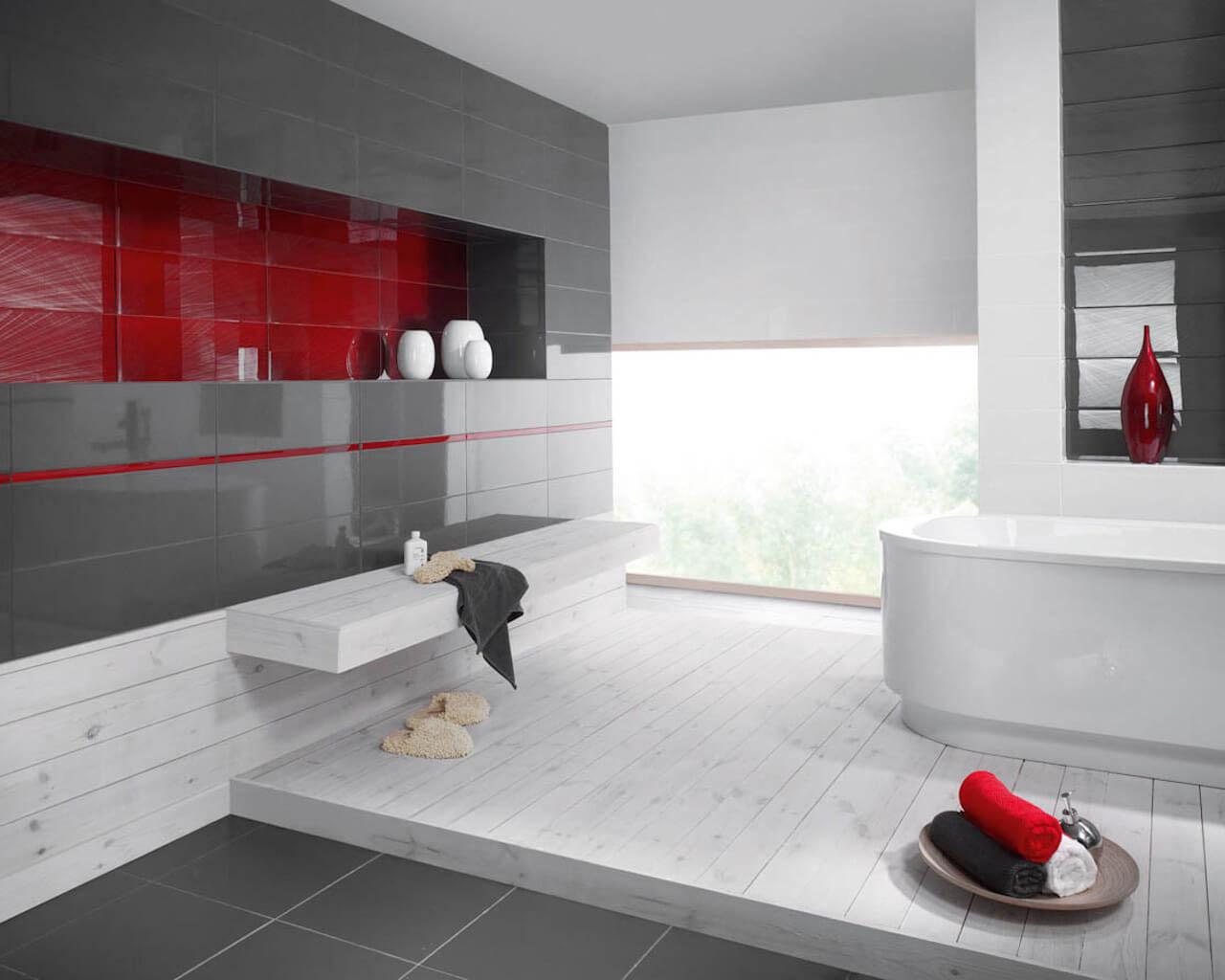 Biało-szara minimalistyczna łazienka z akcentem czerwieni