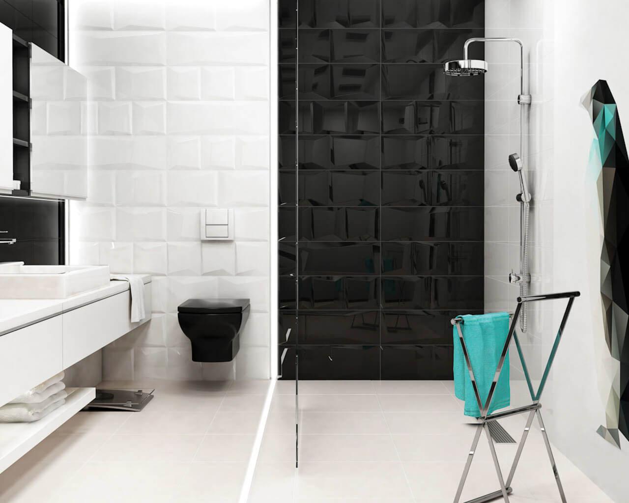 Geometryczne struktury w biało-czarnej, minimalistycznej łazience z prysznicem
