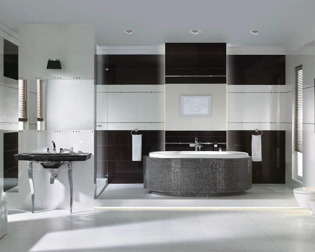 Czarno-biała przestronna łazienka w stylu glamour