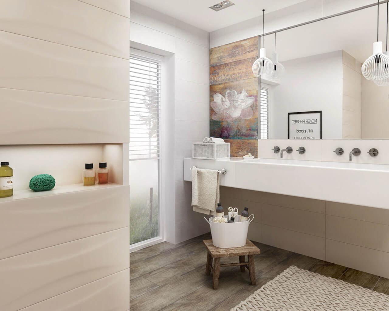 Beżowo-brązowa łazienka w stylu geometrycznym