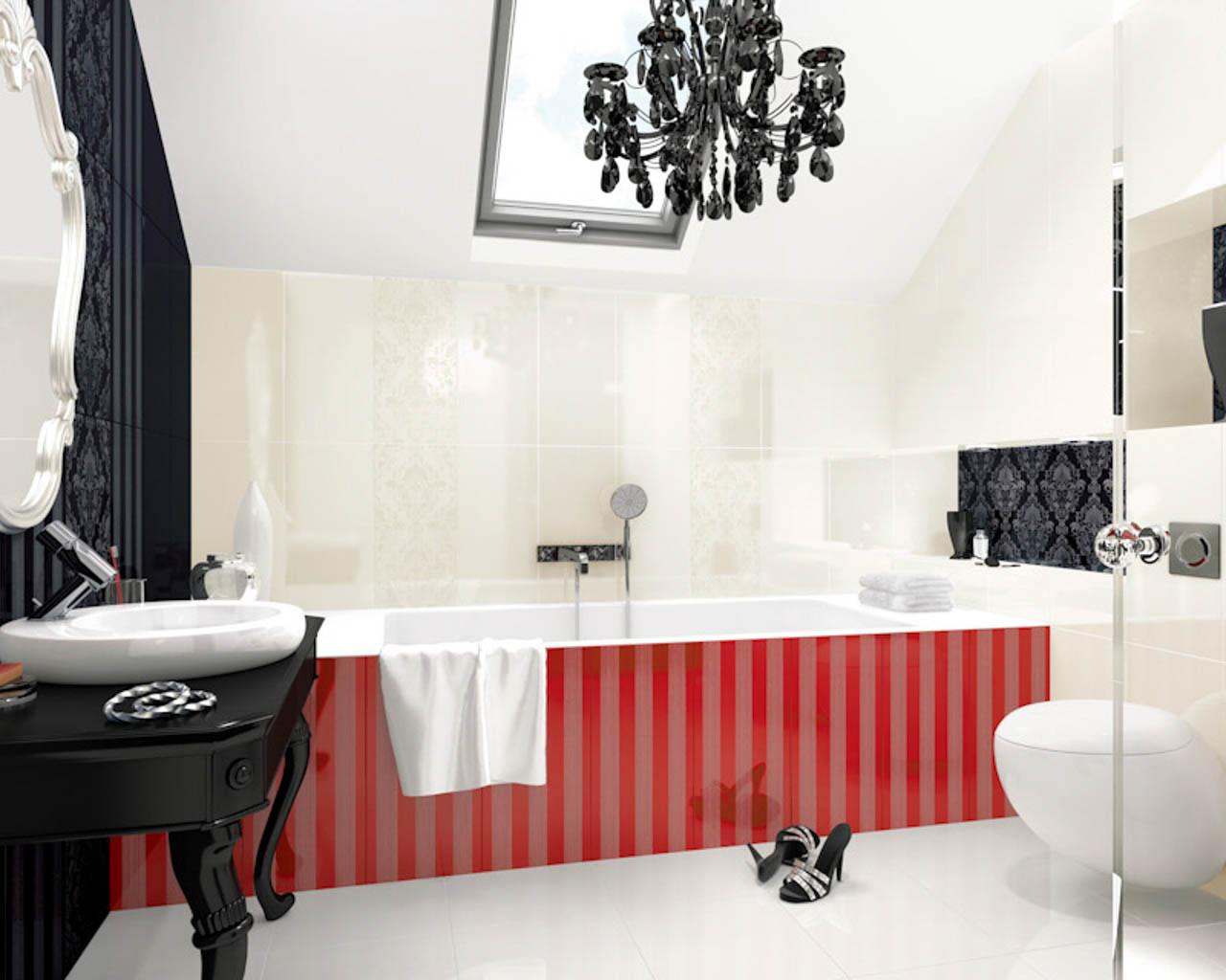 Biało-czarna łazienka z czerwonymi dodatkami w stylu glamour
