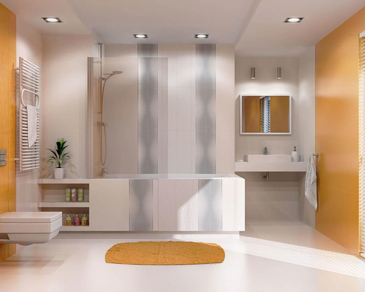 Słoneczne barwy w nowoczesnej łazience z wanną