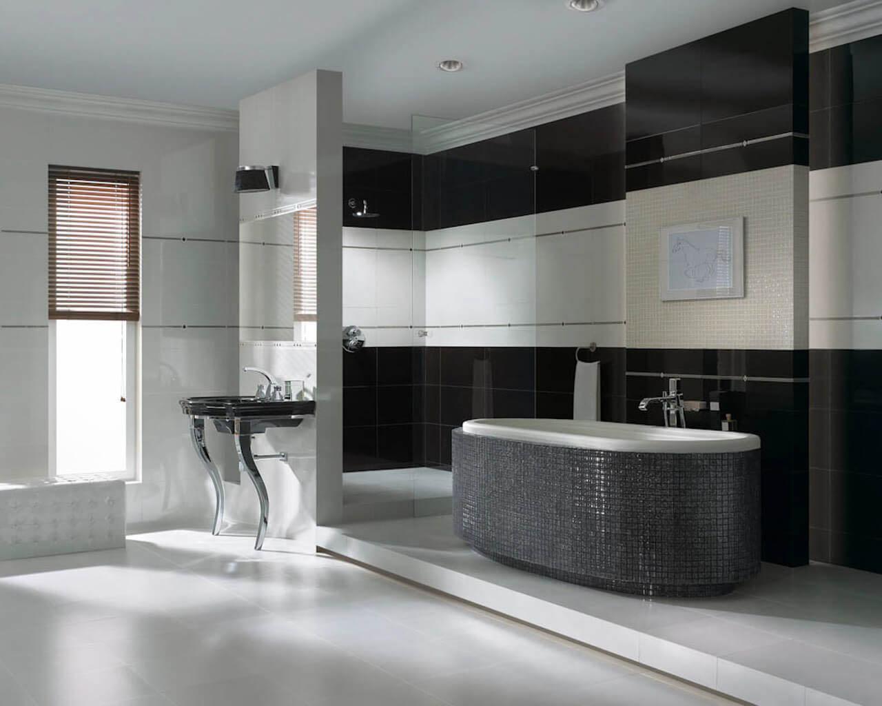 Przepych czarno-białej łazienki w stylu glamour