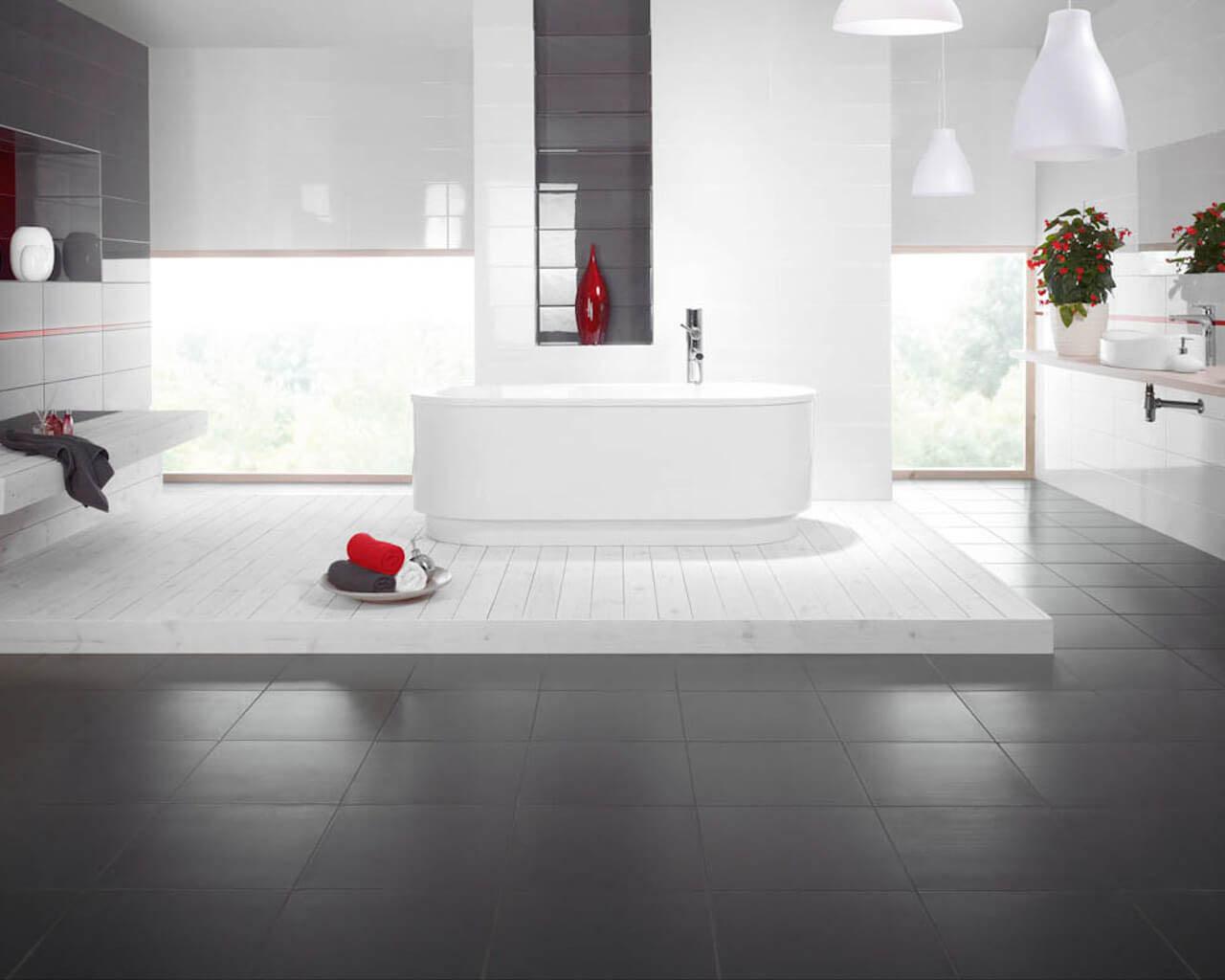 Przestronna szaro-biała łazienka w stylu minimalistycznym