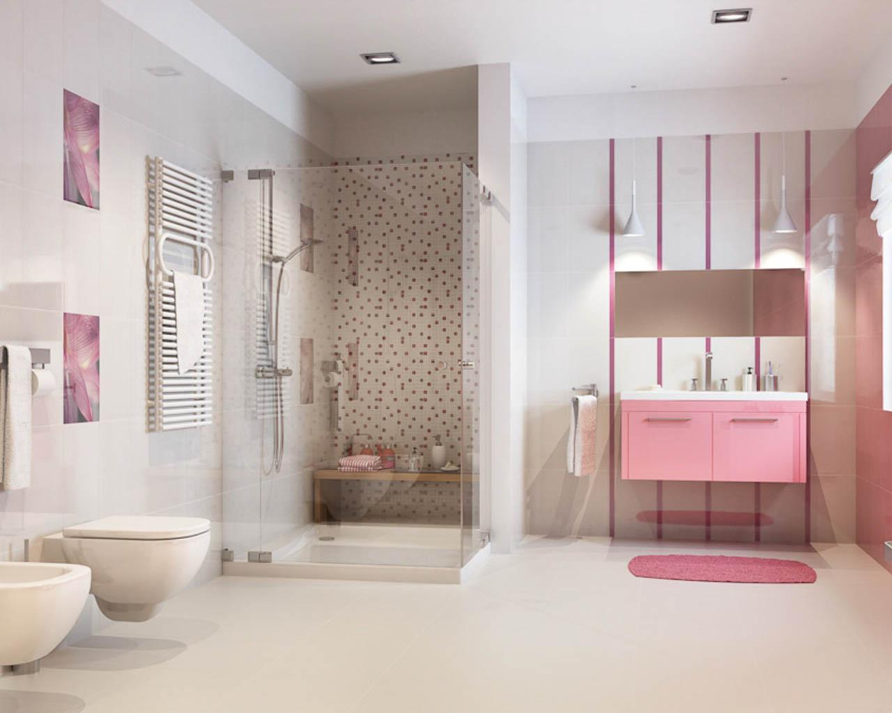 Przestronna łazienka w odcieniach różu i bieli
