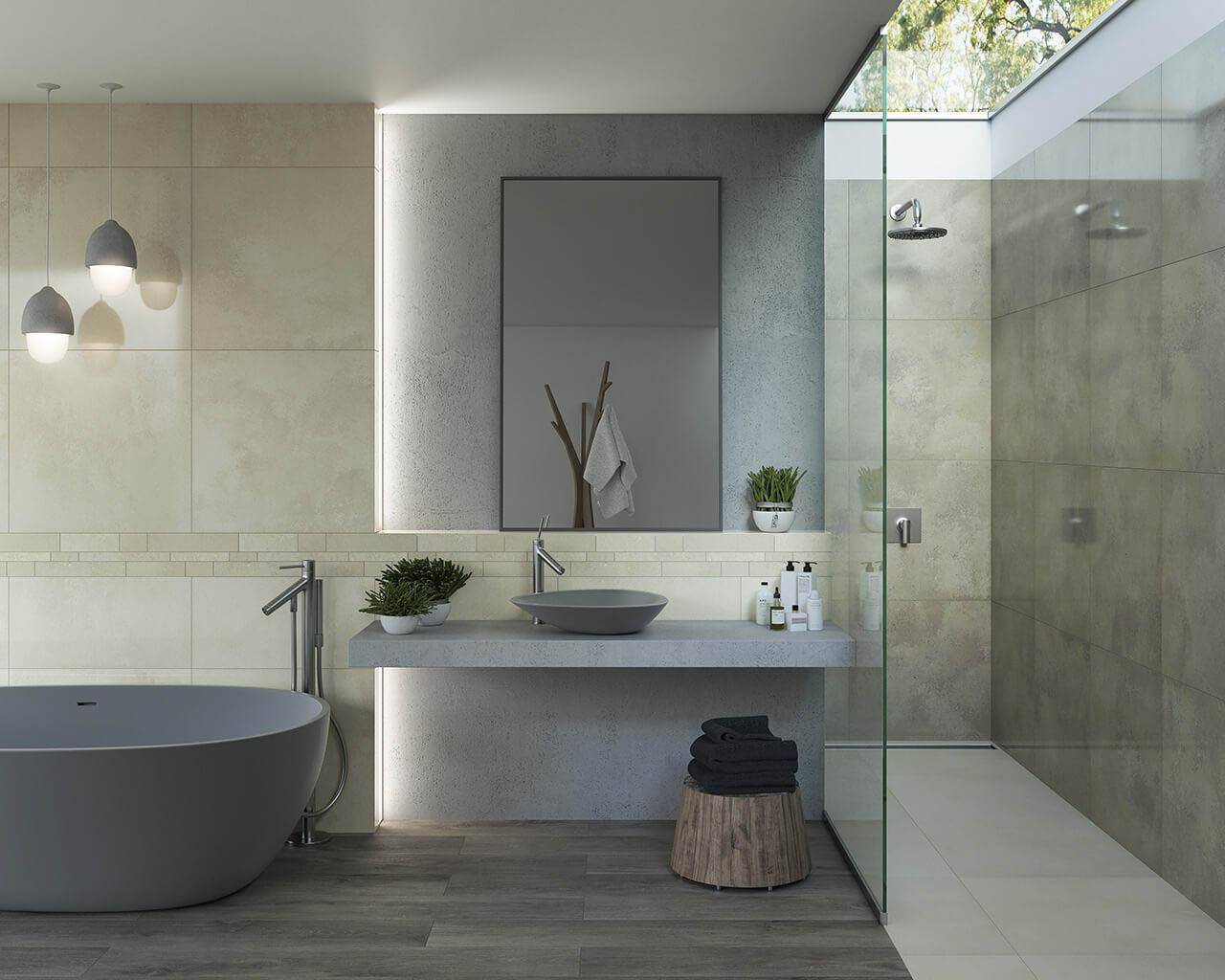 Jasna, minimalistyczna, kamienna łazienka ze świetlikiem w suficie