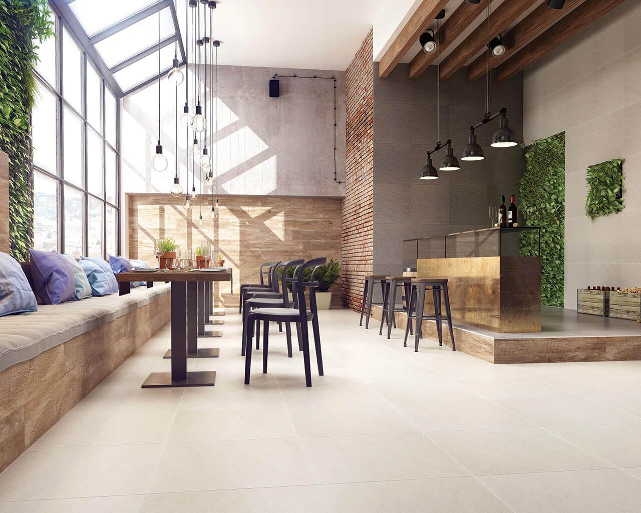 Nowoczesny, przestronny bar w stylu industrialnym
