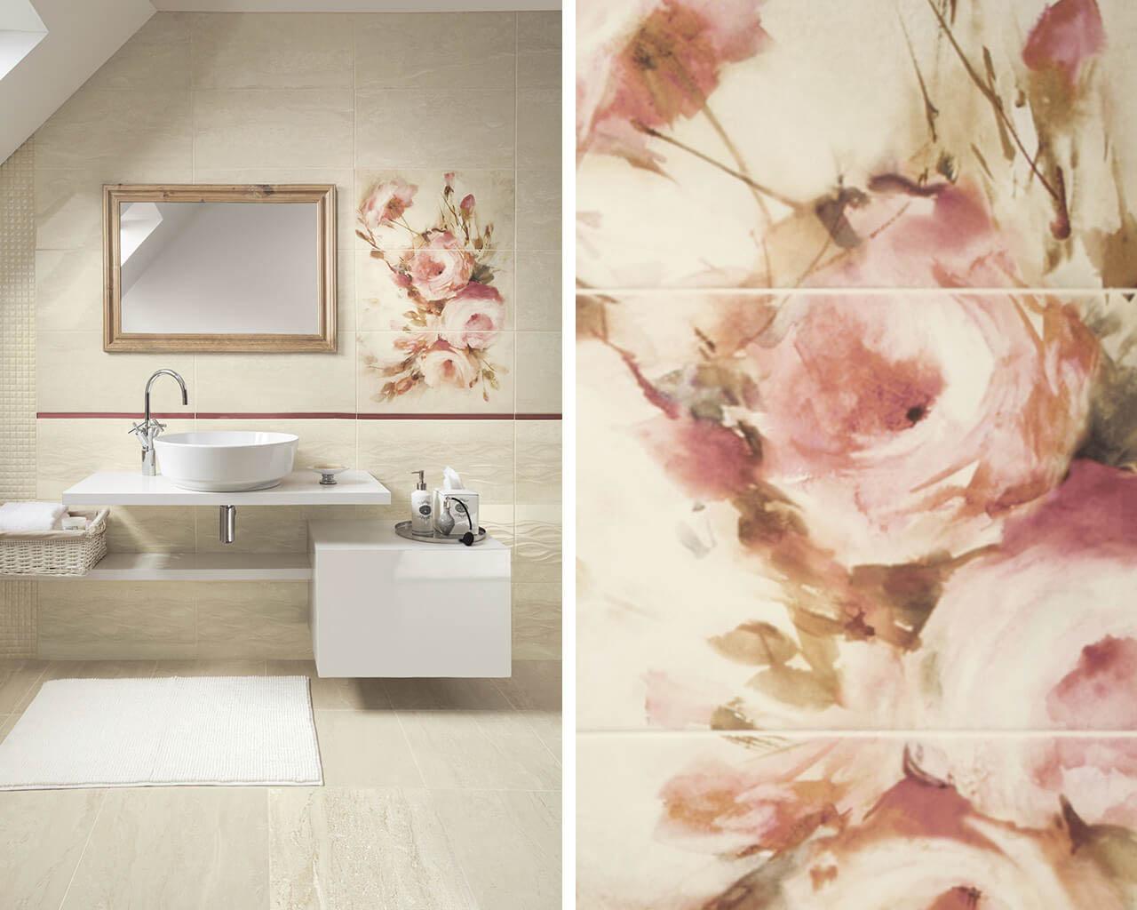 Subtelność pudrowych róż w tradycyjnej łazience na poddaszu