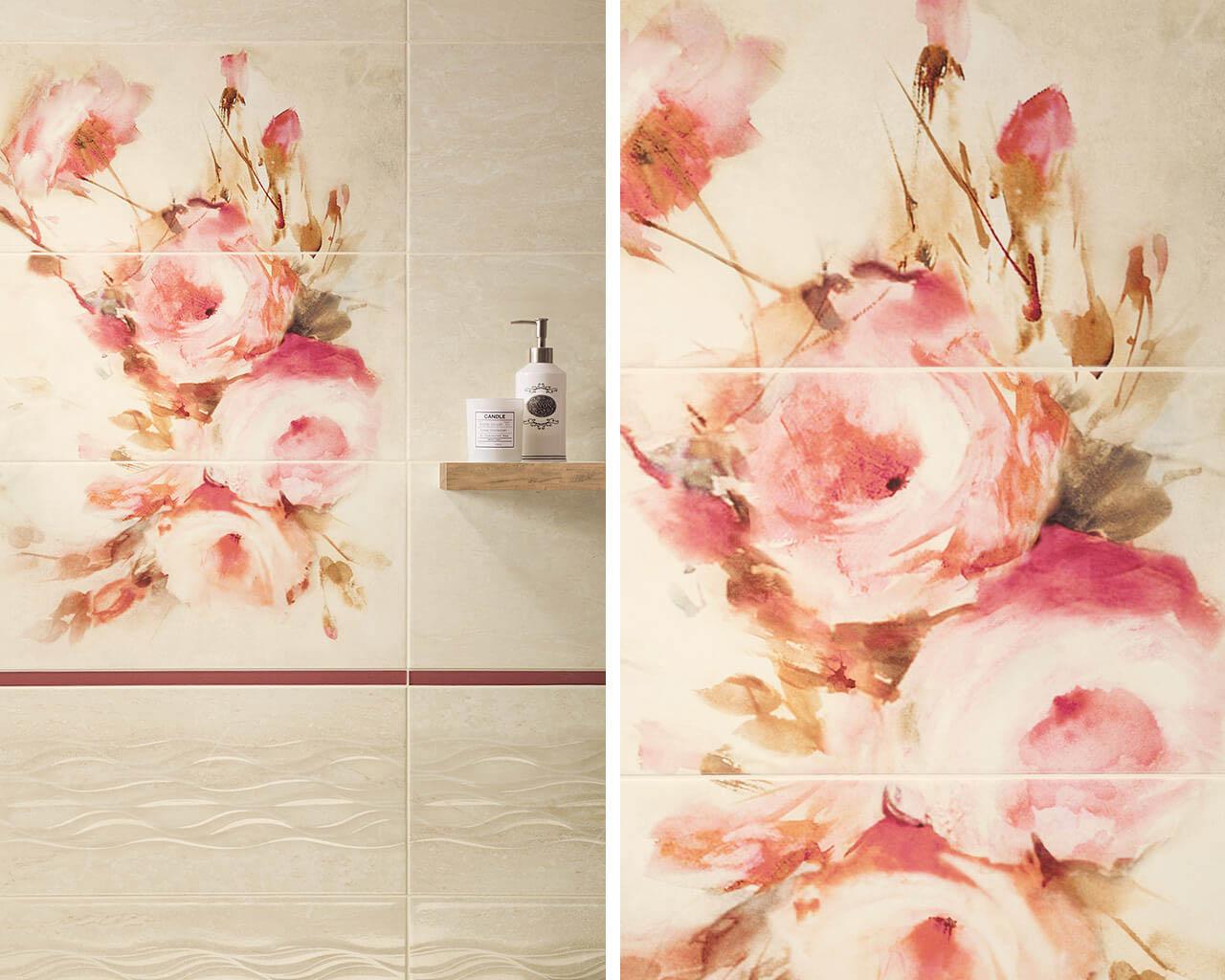 Malowane pudrowe róże w tradycyjnej łazience