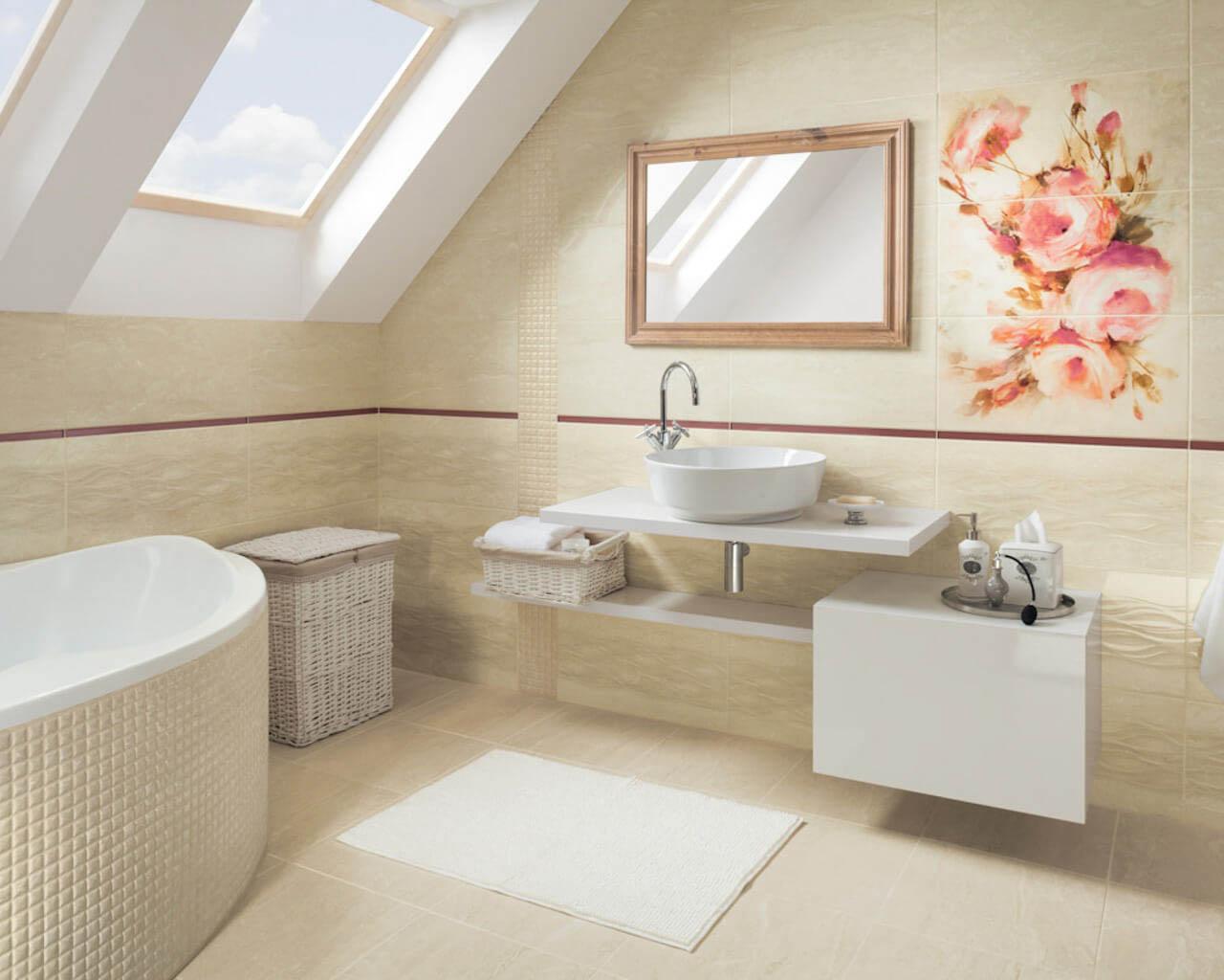 Jasna, beżowa łazienka w stylu klasycznym na poddaszu