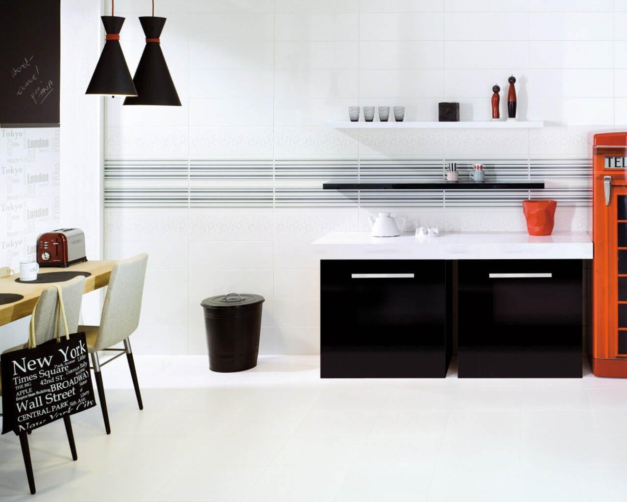Nowoczesna, kosmopolityczna kuchnia w bieli i czerni