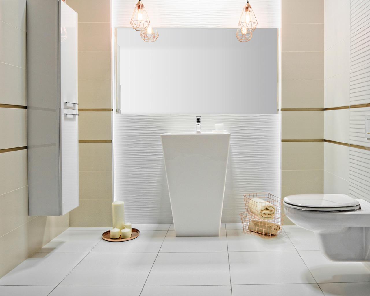 Zabawy strukturąw minimalistycznej łazience