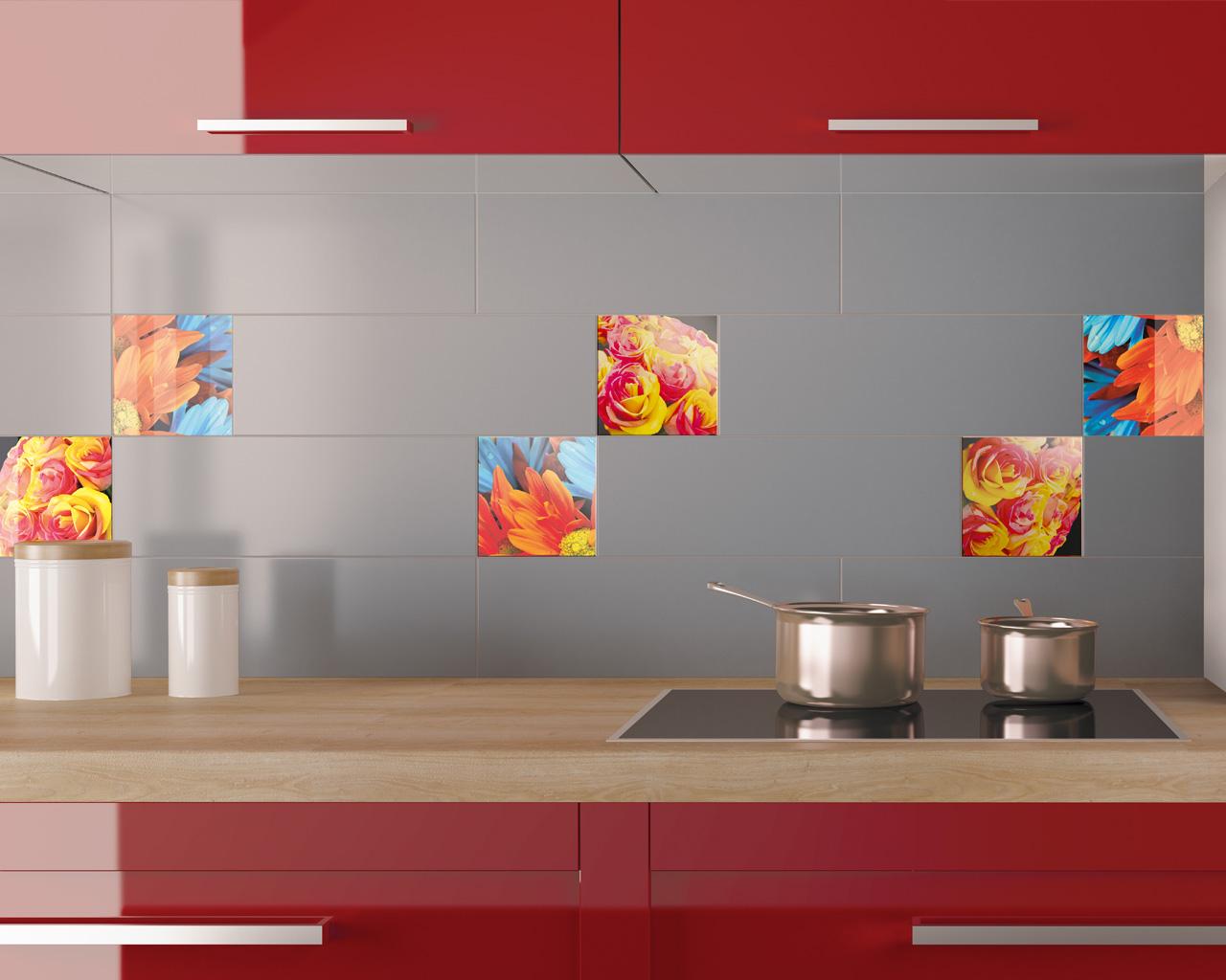 Multikolorowe akcenty dekoracyjne w nowoczesnej kuchni