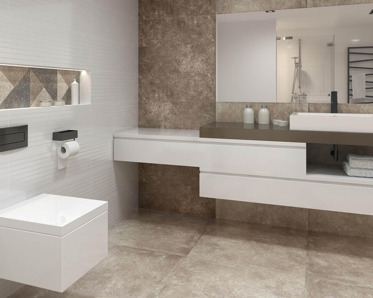 Industrialna łazienka w barwach popielatego brązu