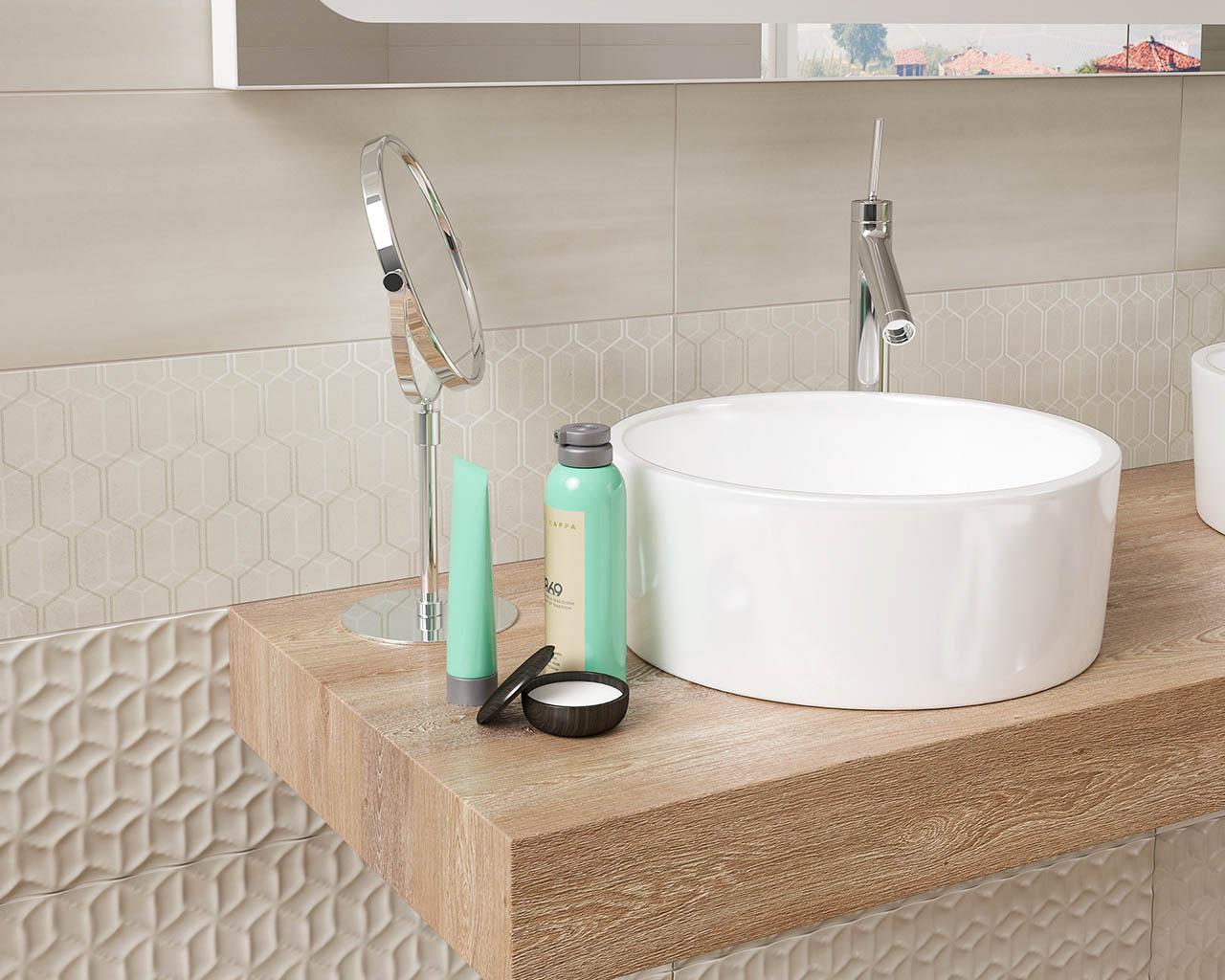 Jasna łazienka w geometrycznym