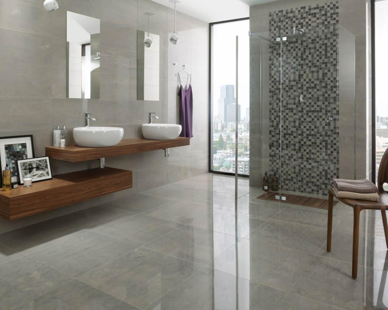 Piękny, minimalistyczny salon kąpielowy w apartamentowcu