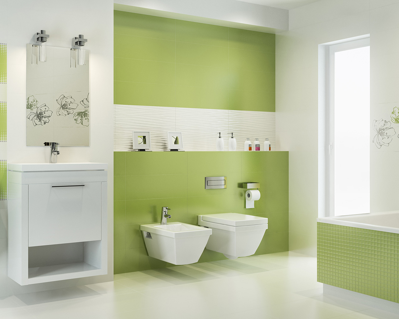 Biało-zielona, nowoczesna łazienka z wanną