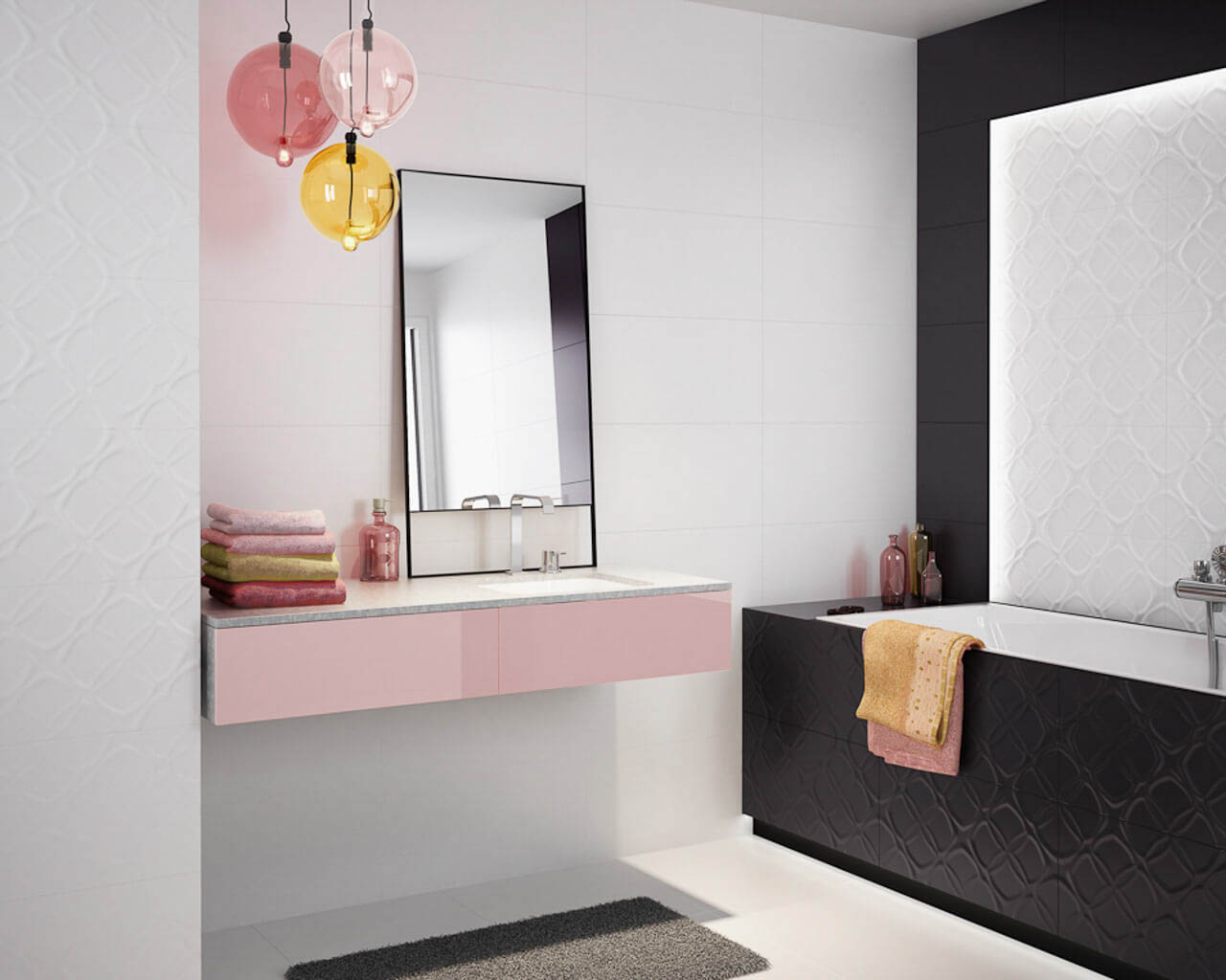 kleines wei schwarzes bad mit einer badewanne ceramika paradyz. Black Bedroom Furniture Sets. Home Design Ideas