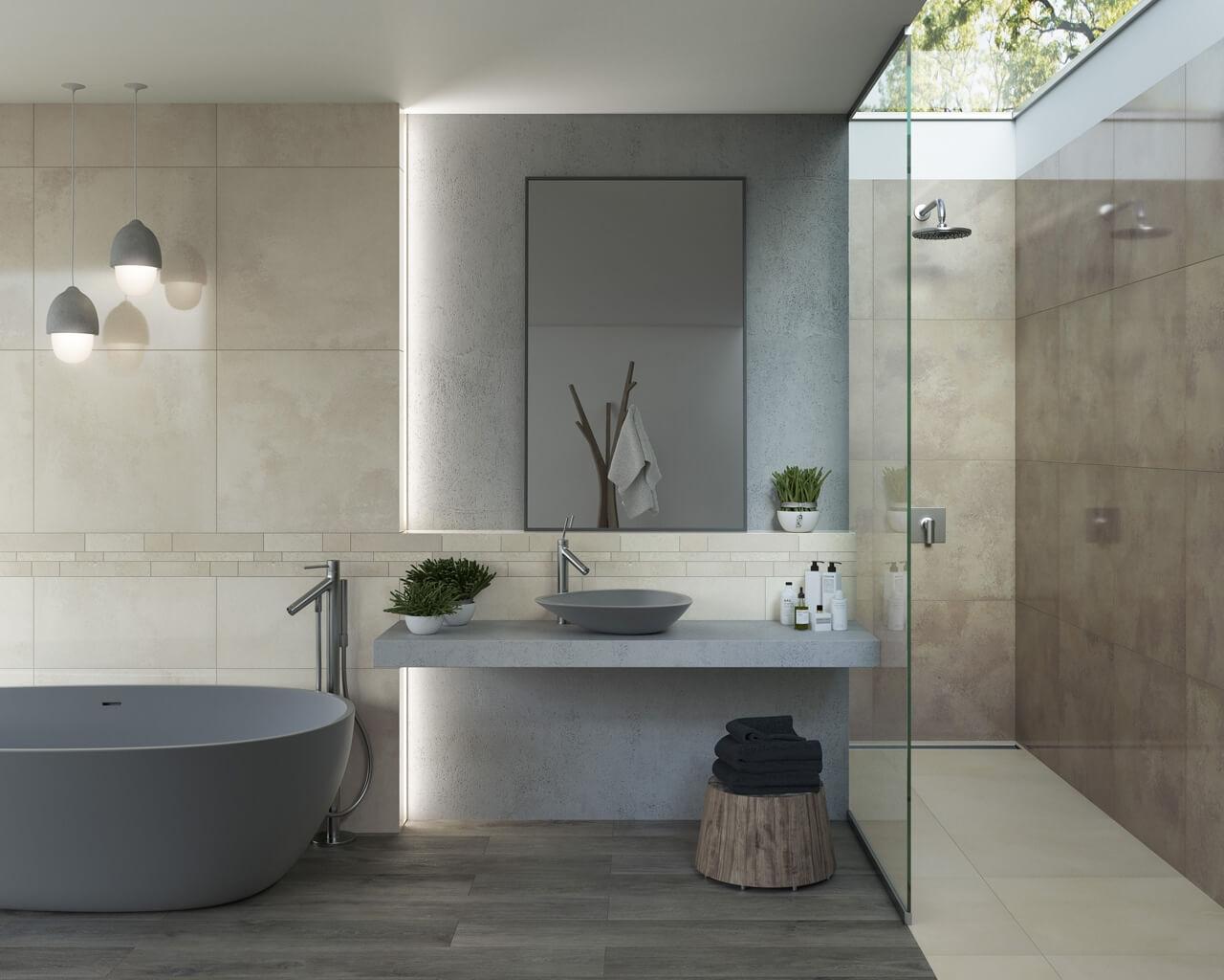 stein holz und beton im badezimmer ceramika paradyz. Black Bedroom Furniture Sets. Home Design Ideas