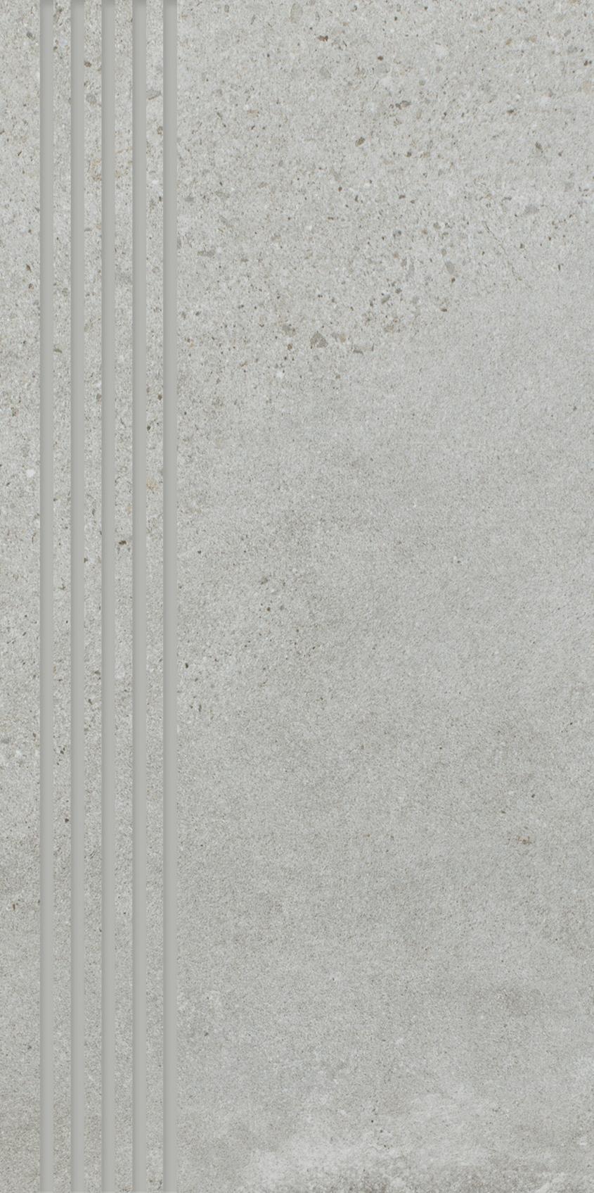 Optimal Grys Stopnica Prosta Nacinana Mat.  - Szary - 298x598 - Płytki podłogowe - Optimal