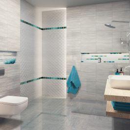 Light Grey Bathroom With Turquoise