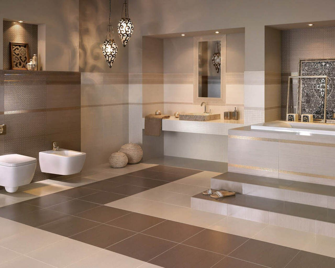 Meishagaram Beige Bathroom Tiles With Tiny Geometric Pattern - Beige-bathroom-tiles
