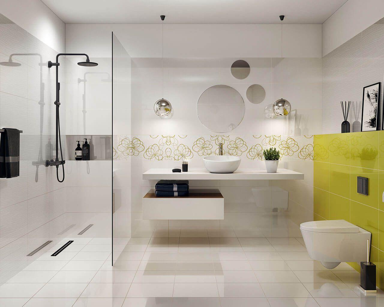 Vividavivido Bathroom Tiles With A Floral Motif In Lively