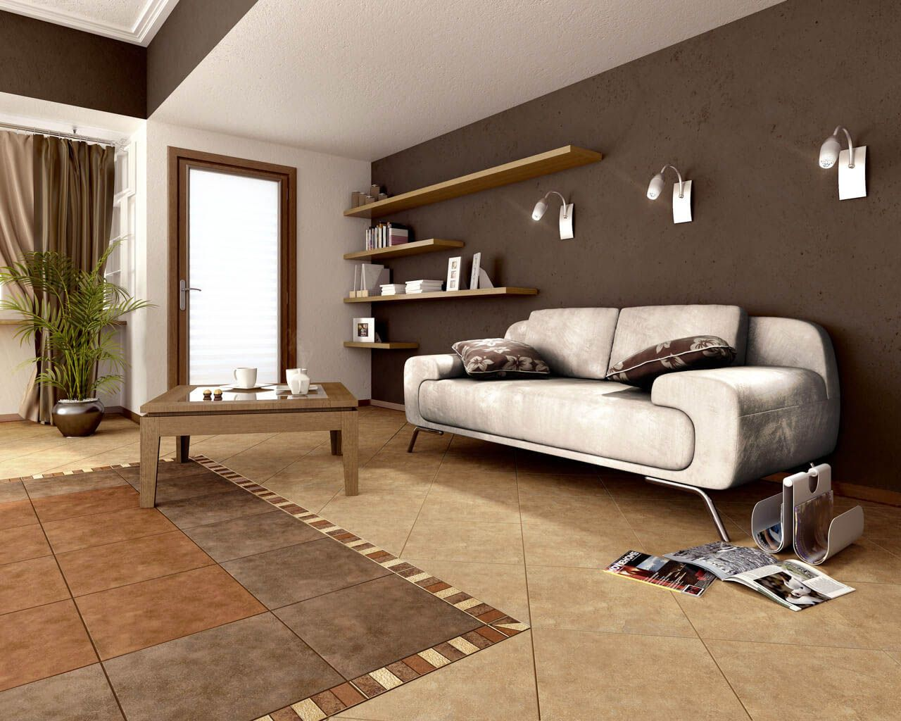 In the rufus collection there are three colour schemes of floor tiles in a 40x40 cm size beige brown and ochre there are also two decorative elements