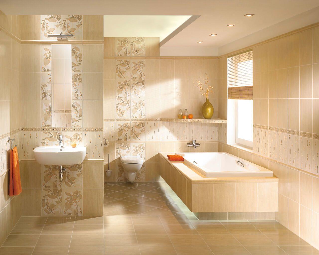 Begoniaorlik Beżowe I Brązowe Płytki łazienkowe Motyw