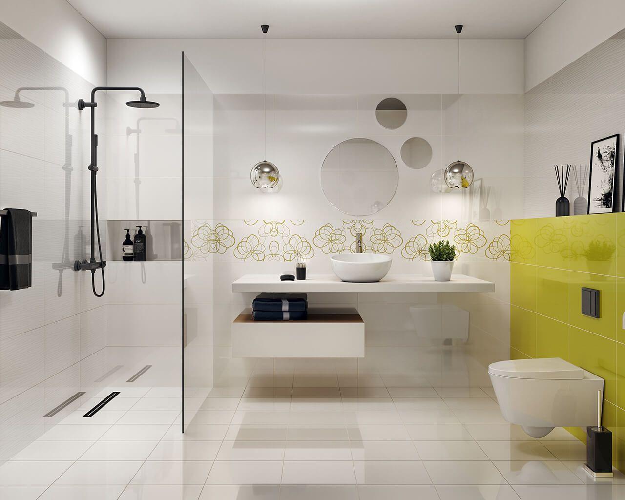 VividaVivido bathroom tiles with a floral motif in lively colours