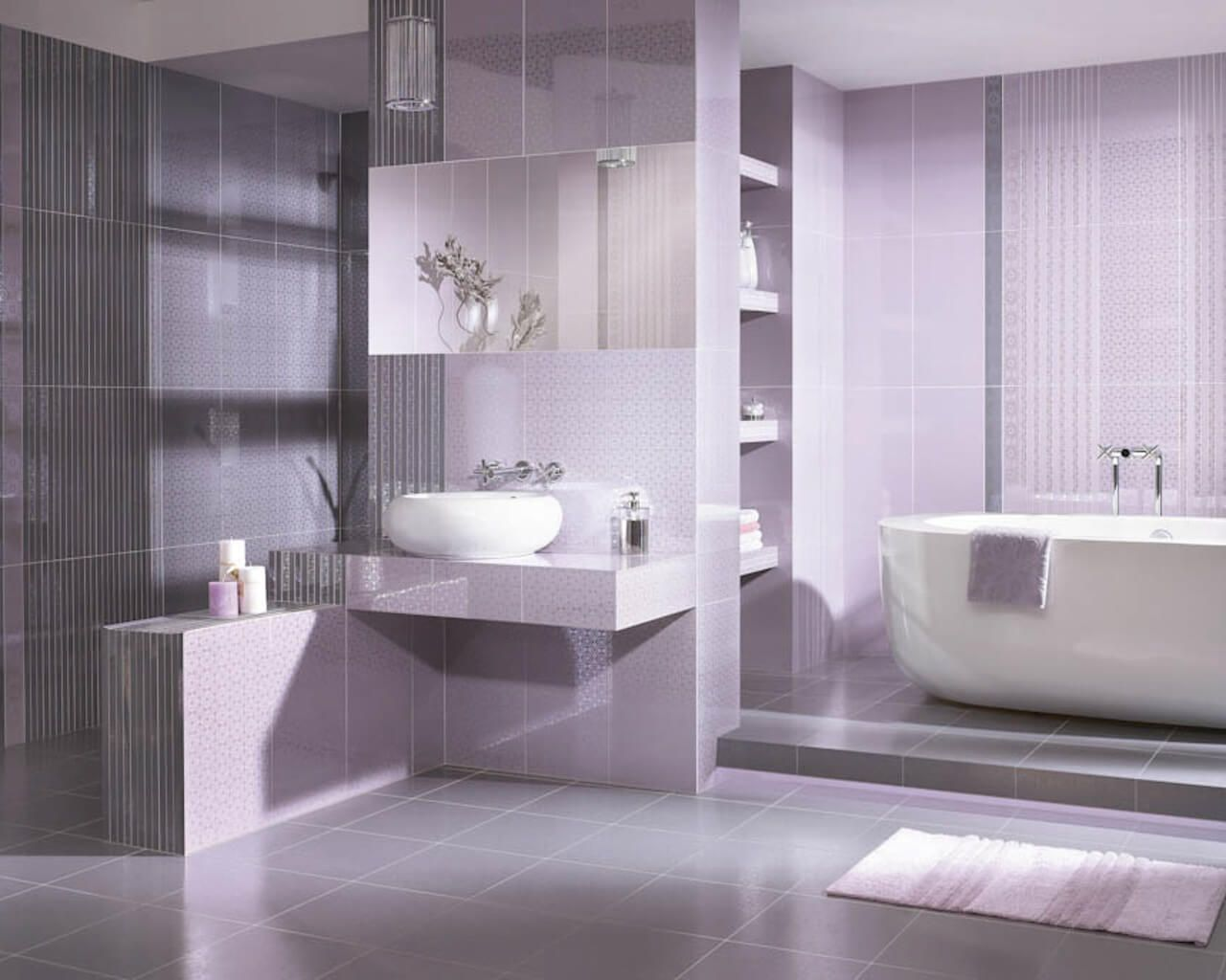 Piume Bianco Bathroom Tiles With Delicate Graphics