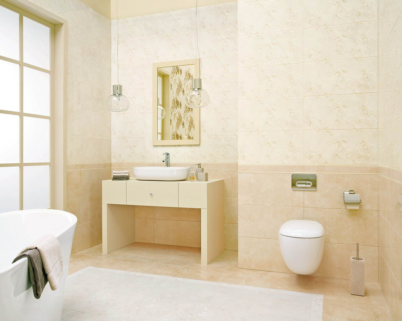 Inspiration bathroom tiles – beige and brown bathroom tiles, size ...