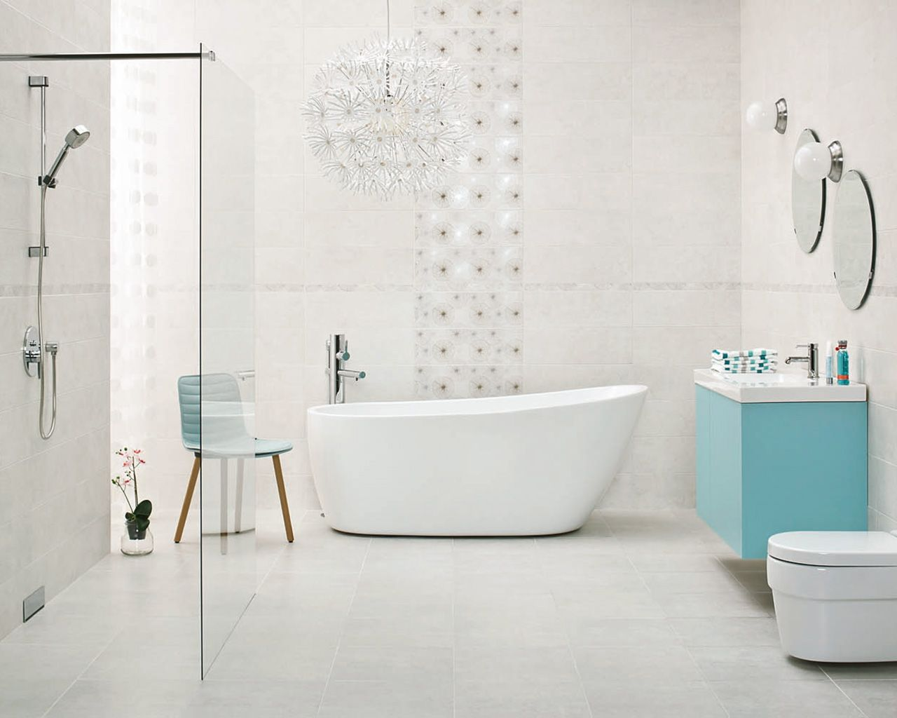 Nirrad / Niro - Bathroom tiles 20x60 cm in white and gray | Ceramika ...