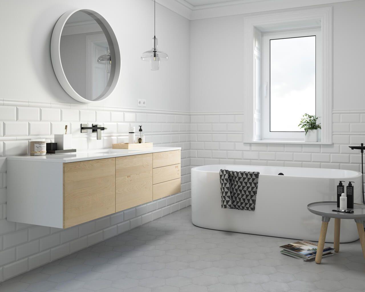 Tamoe – bathroom tiles slightly corrugated   Ceramika Paradyz