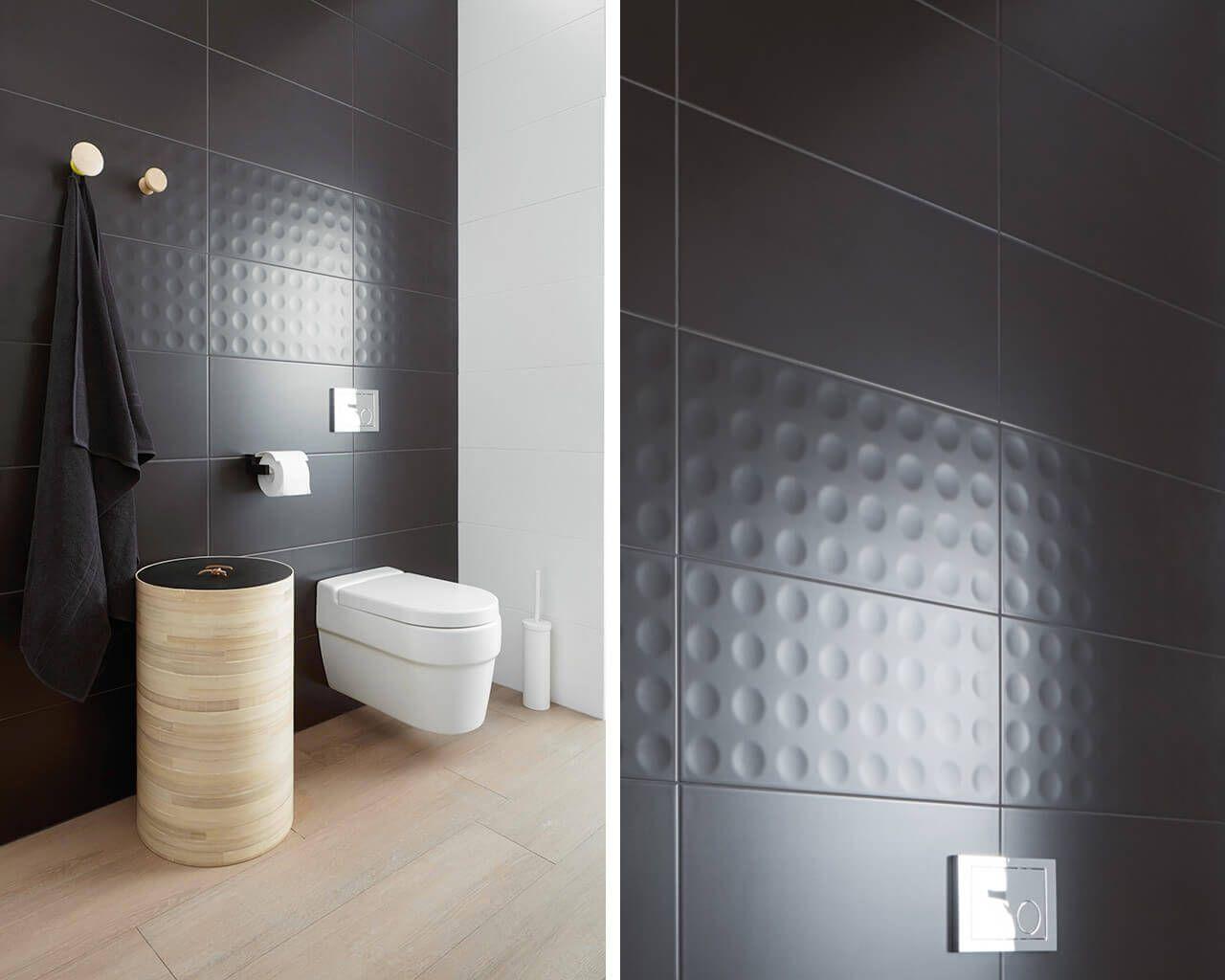 Modul Purio White And Graphite Bathroom Tiles