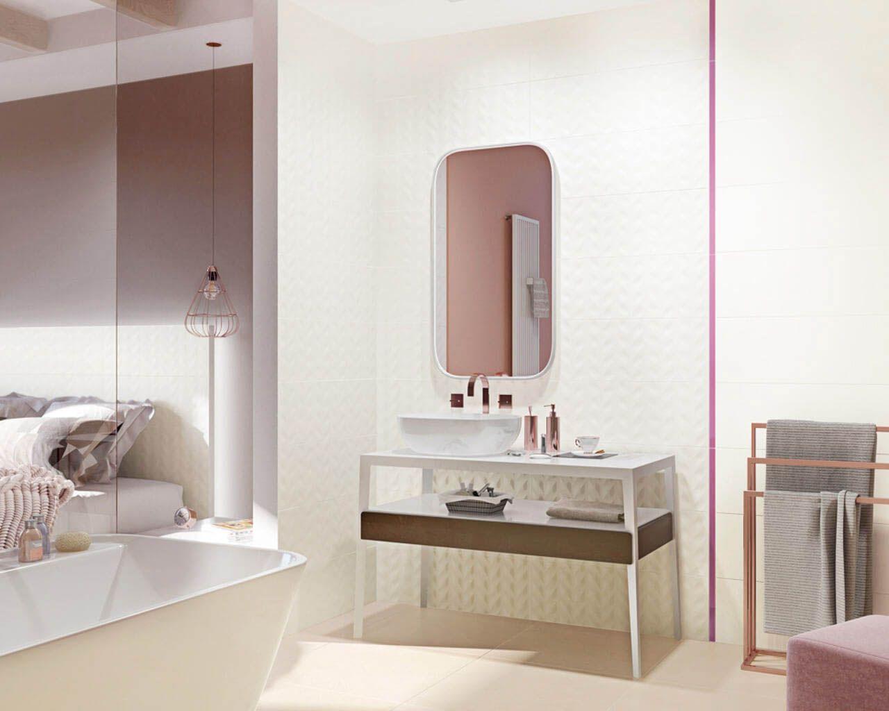 Jasna łazienka Połączona Z Sypialnią Ceramika Paradyż