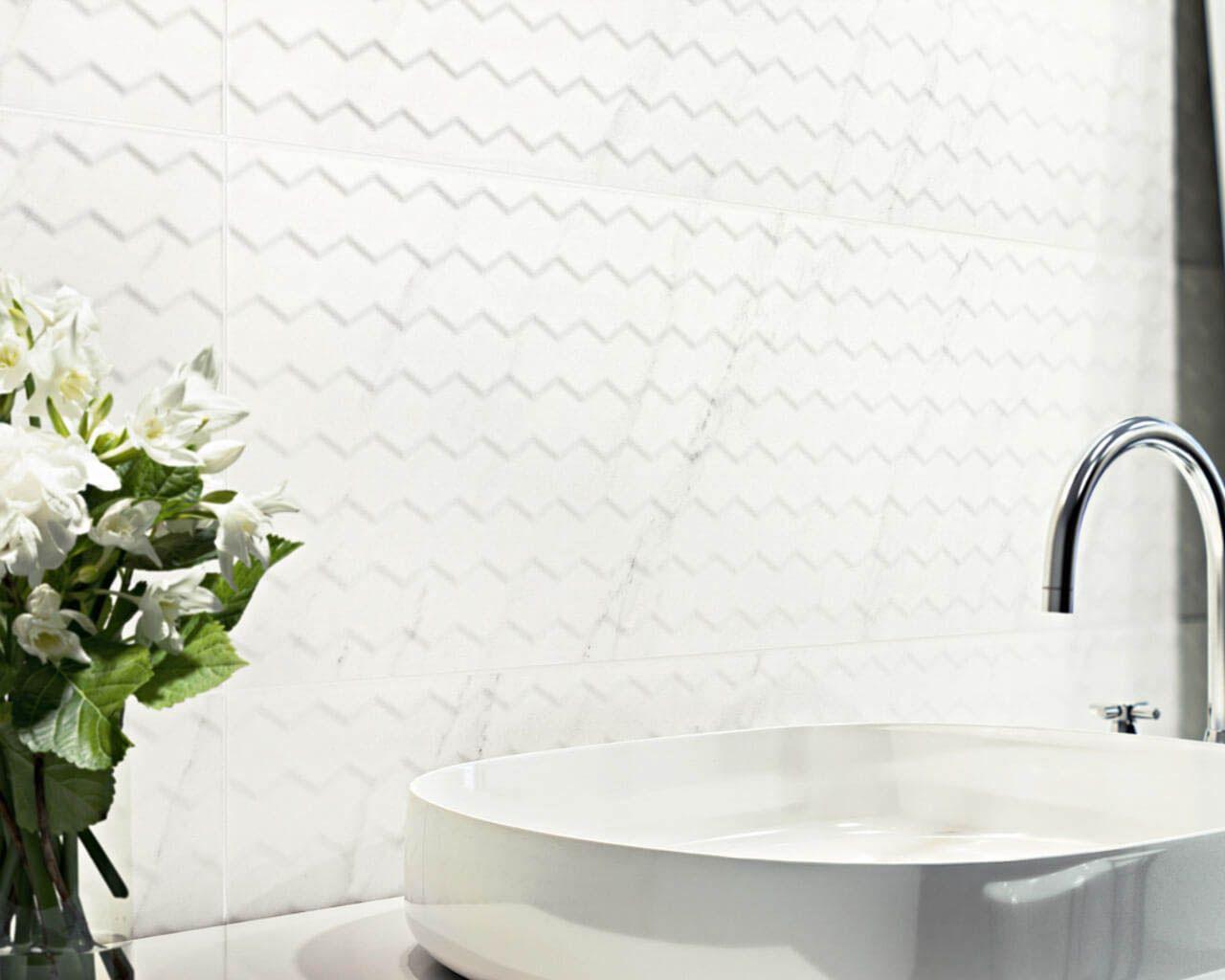 Klasyka łazienkowa Delikatna Struktura Białych Płytek