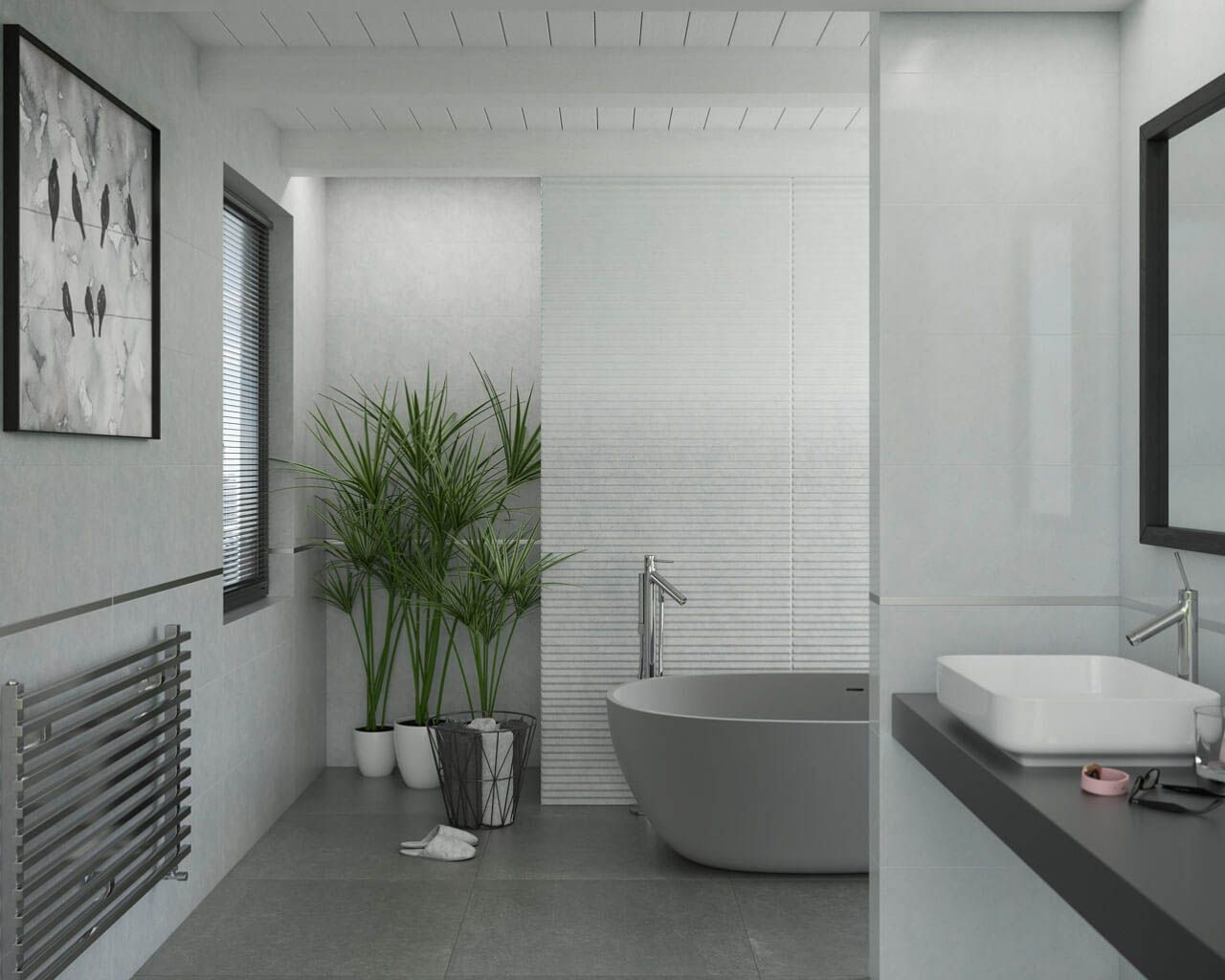 Minimalistic White And Silver Bathroom With A Free Standing