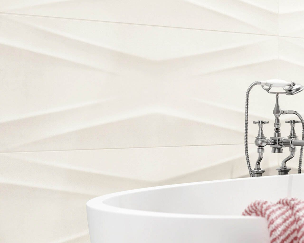 Delicate structure of white bathroom tiles | Ceramika Paradyz