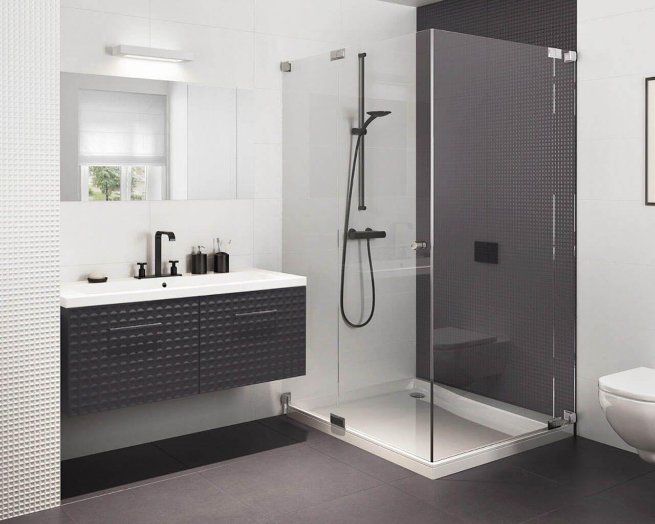 minimalistyczna �azienka z prysznicem w bieli i czerni