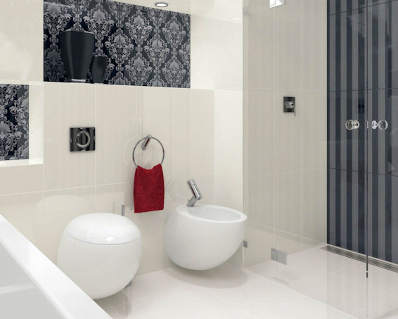 Black And White Bathroom In A Glamour Style