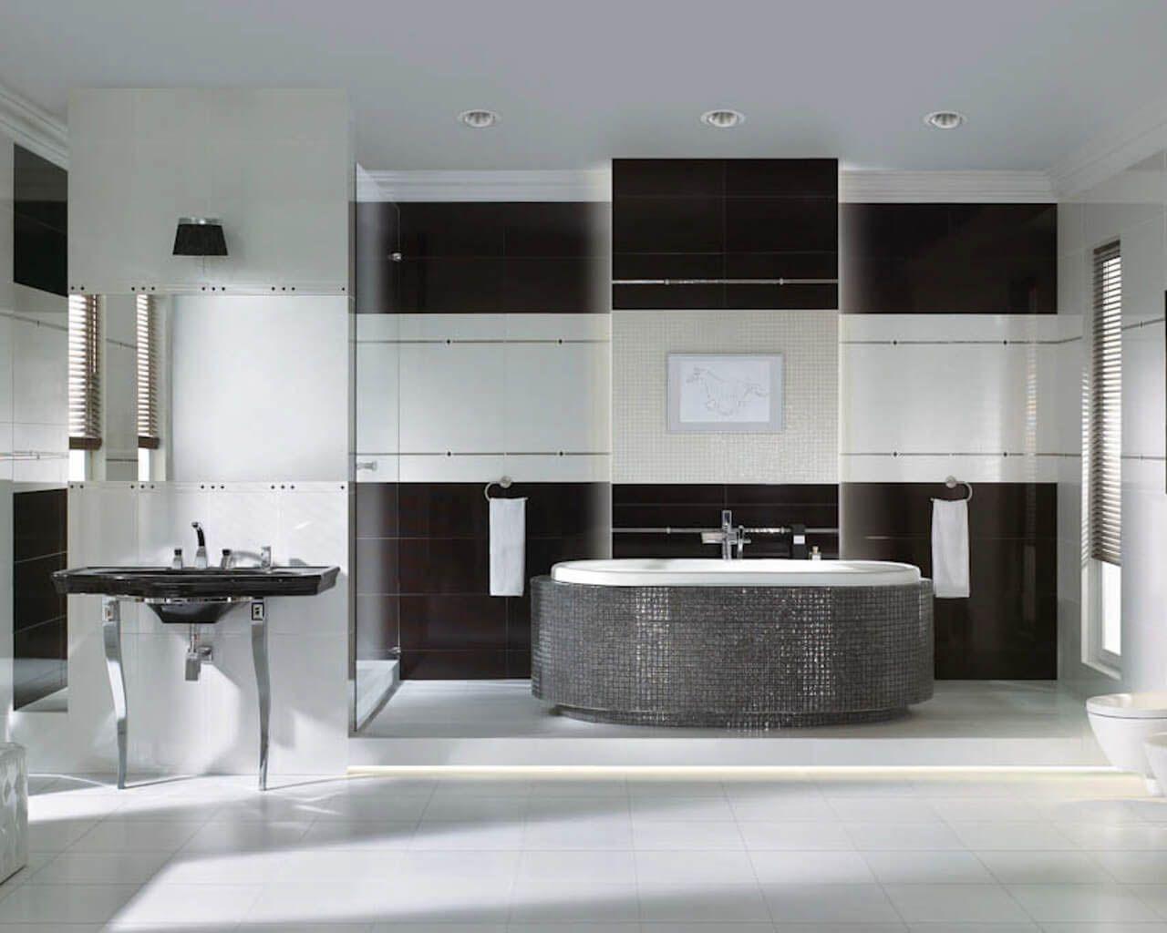 Czarno Biała Przestronna łazienka W Stylu Glamour Ceramika