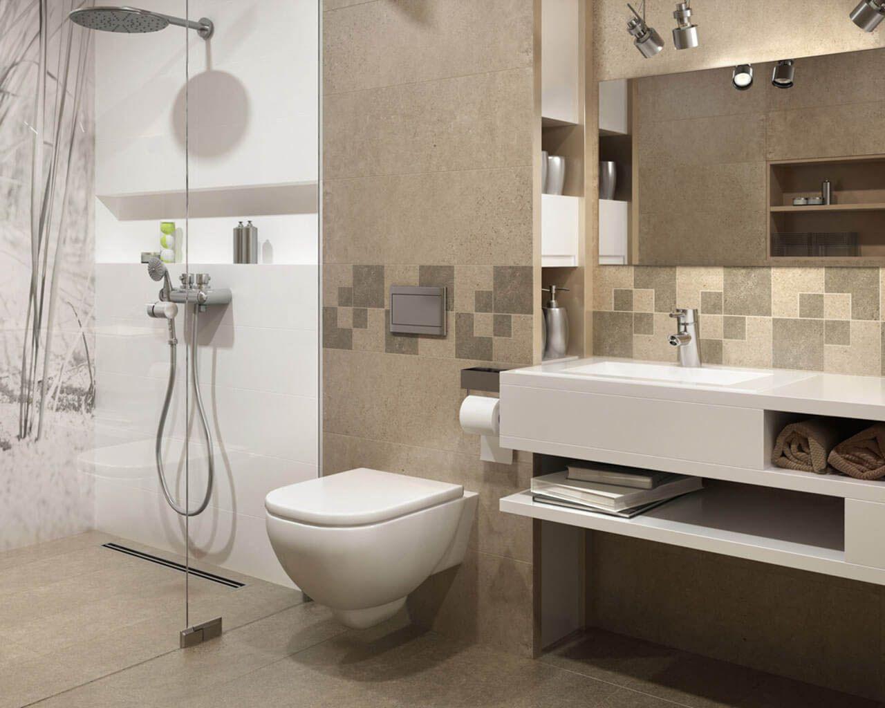Kleines, Modernes Bad Mit Dusche, In Matten Beigefarben