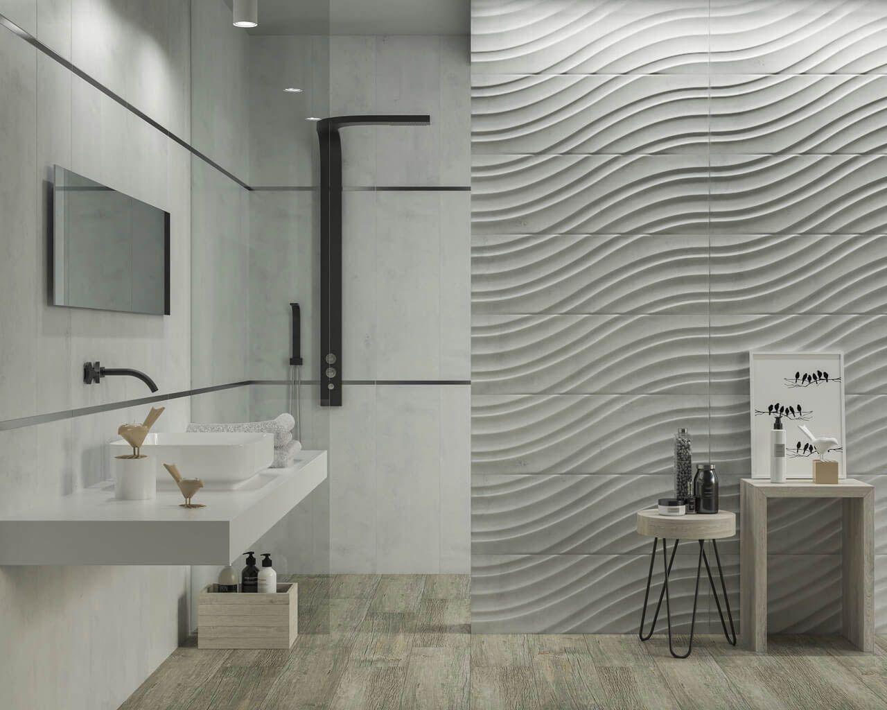 Jasna Kamienna łazienka Z Geometryczną Strukturą Fal