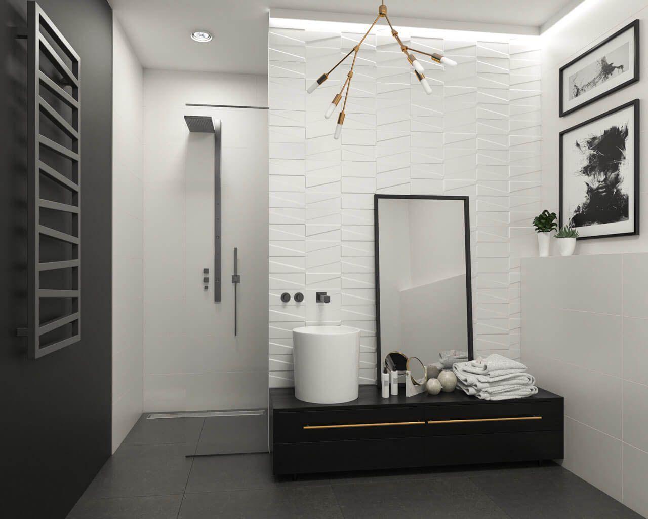 Moderne Eleganz im weiß-schwarzen Badezimmer | Ceramika Paradyz