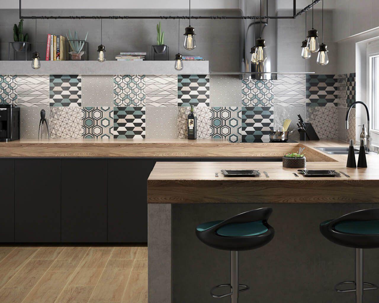 Warme Schlichtheit Einer Grau Schwarzen Küche Mit Blauen Akzenten