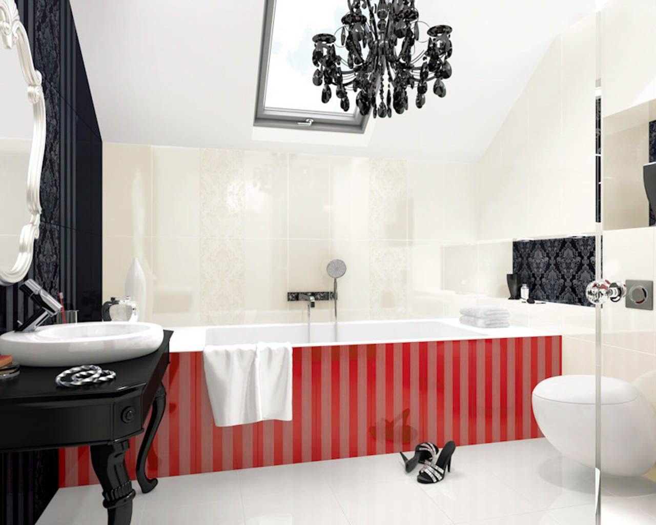 White and black bathroom with red accessories in a glamour style ...